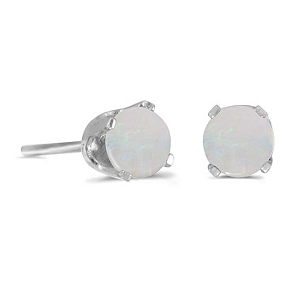 Prong Set 4 MM Natural Opal Earring Studs in 14K White Gold