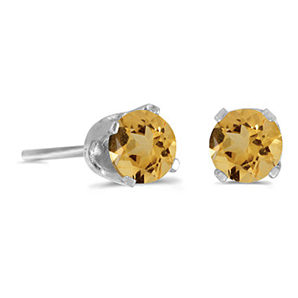 Natural 5 MM Citrine Earring Studs in 14K White Gold Prong Set