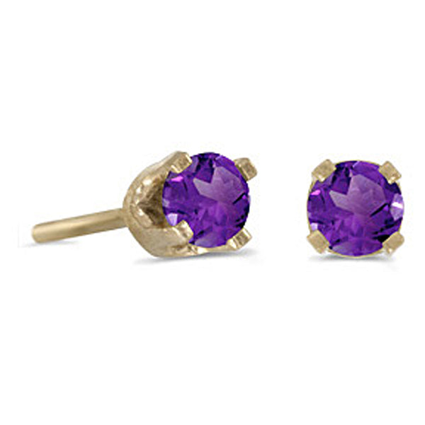 Prong Set 3 MM Amethyst Earring Studs in 14K Yellow Gold