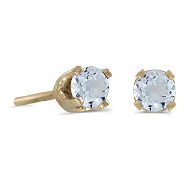 Prong Set 3 MM Aquamarine Earring Studs in 14K Yellow Gold