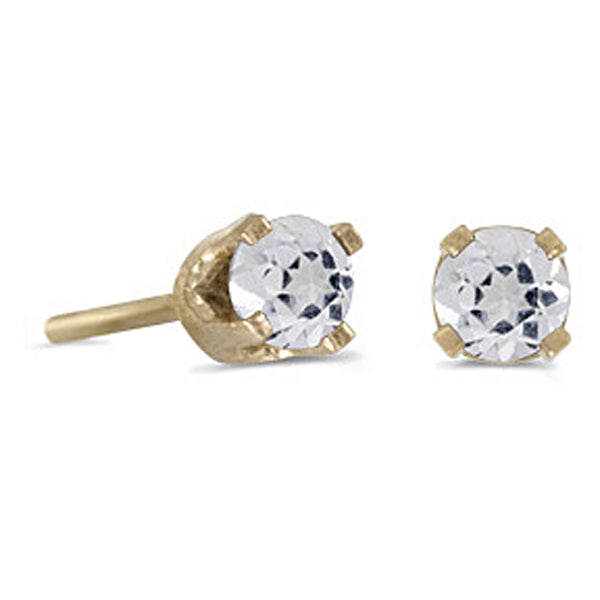 Prong Set 3 MM White Topaz Earring Studs in 14K Yellow Gold