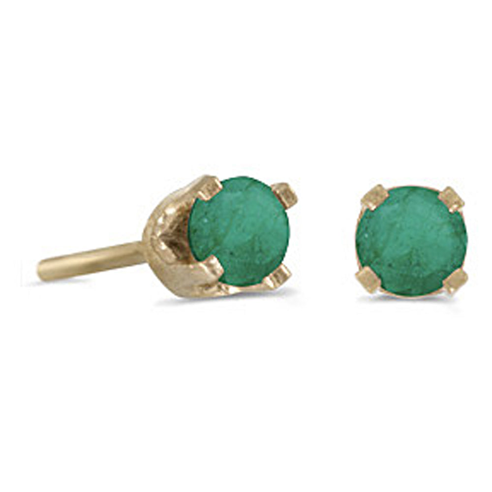 Prong Set 3 MM Emerald Earring Studs in 14K Yellow Gold