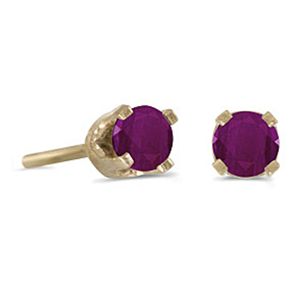 Prong Set 3 MM Ruby Earring Studs in 14K Yellow Gold