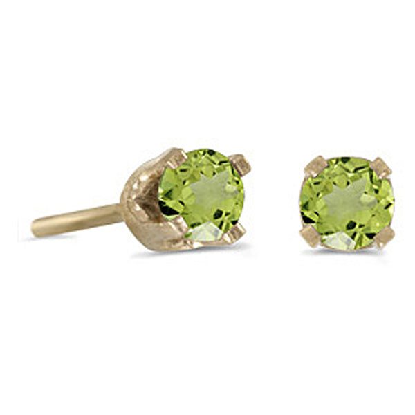 Prong Set 3 MM Peridot Earring Studs in 14K Yellow Gold