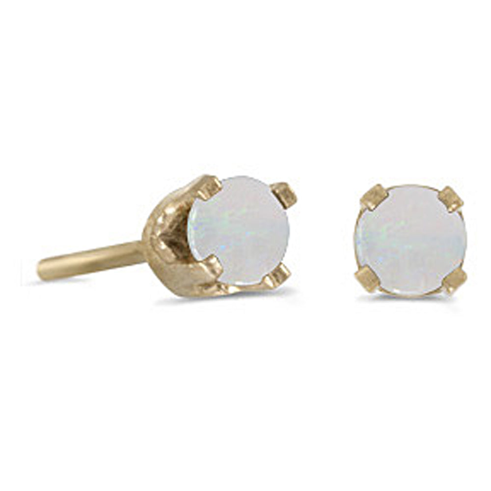 Prong Set 3 MM Opal Earring Studs in 14K Yellow Gold
