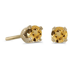 Prong Set 3 MM Citrine Earring Studs in 14K Yellow Gold