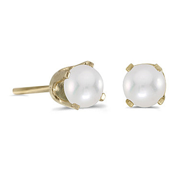 Freshwater Cultured 4 MM Pearl Earring Studs in 14K Yellow Gold Prong Set