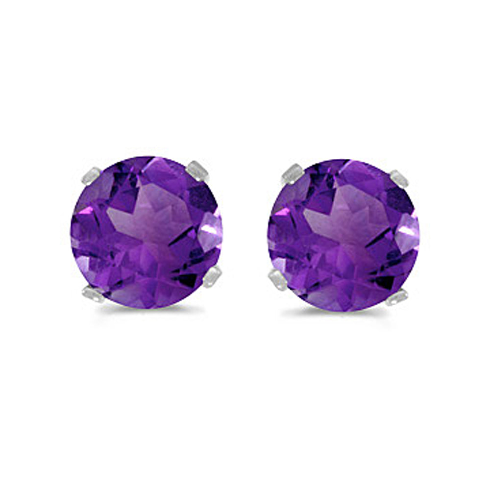 Prong Set 5 MM Natural Amethyst Earring Studs in 14K White Gold