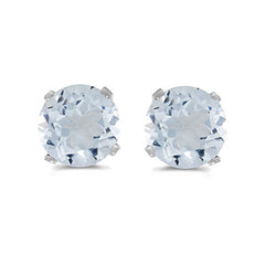 Prong Set 5 MM Natural Aquamarine Earring Studs in 14K White Gold