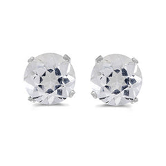 Natural 5 MM White Topaz Earring Studs in 14K White Gold Prong Set