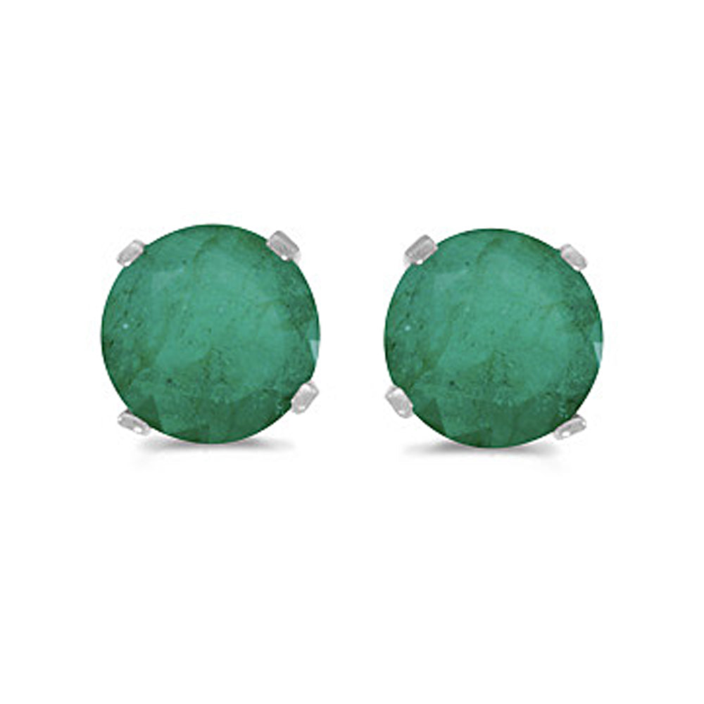Prong Set 5 MM Natural Emerald Earring Studs in 14K White Gold
