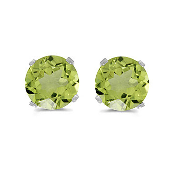 Prong Set 5 MM Natural Peridot Earring Studs in 14K White Gold