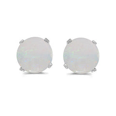 Prong Set 5 MM Natural Opal Earring Studs in 14K White Gold