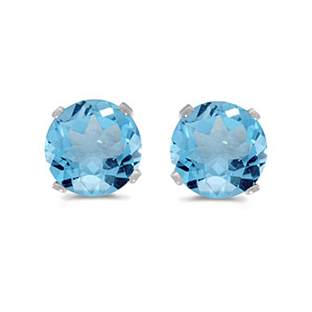 Prong Set 5 MM Natural Blue Topaz Earring Studs in 14K White Gold