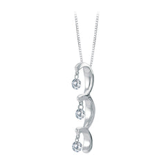 14K White Gold 1/4 ct. Floating Diamond Pendant with Chain