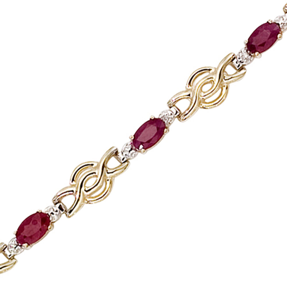 14K Yellow/White Gold Diamond Accent and 1 3/4 ct. Ruby Bracelet