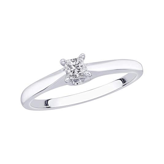 Princess Cut Diamond Promise Ring in Sterling Silver (1/6 cttw H-I, I2-I3)