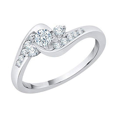 KATARINA Diamond Prong Set Three Stone Plus Bypass Promise Ring In 10K Gold (3/8 cttw, G-H, I2-I3)