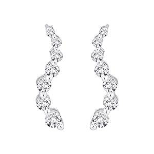 "Sterling Silver 0.15 ct. Cubic Zirconia ""Journey of Love"" Curve Earrings"