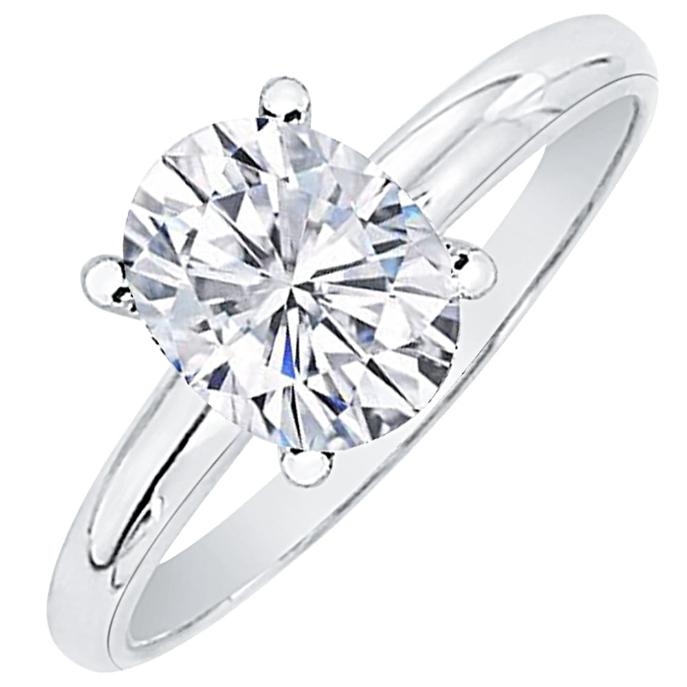 G  Si3 Oval Cut Diamond Solitaire Engagement Ring In 14k Gold