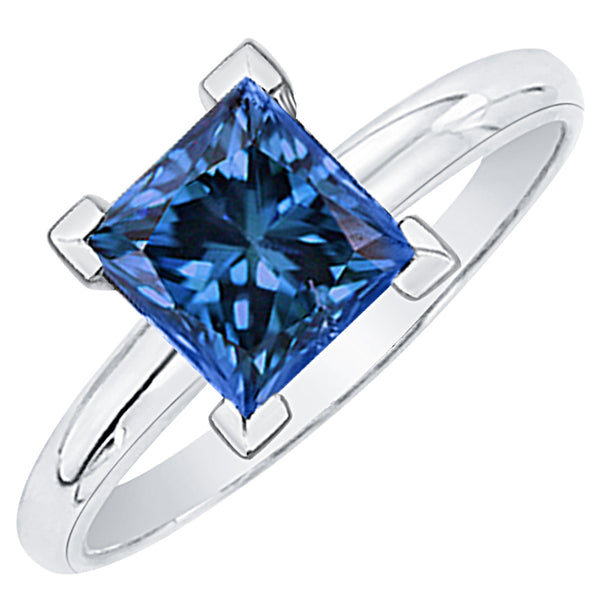 0.51 ct. Blue - SI2,I1 Princess Cut Diamond Solitaire Engagement Ring (White or Yellow Gold)