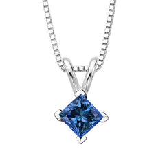 Blue - I1 Princess Cut Diamond Solitaire Pendant with Chain in 14K White Gold