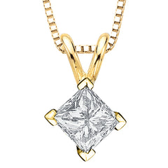 1.01 ct. E - SI3 Princess Cut Diamond Solitaire Pendant with Chain in 14K Gold