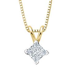 GIA Certified 1.01 ct. H - SI1 Princess Cut Diamond Solitaire Pendant with Chain in 14K Gold