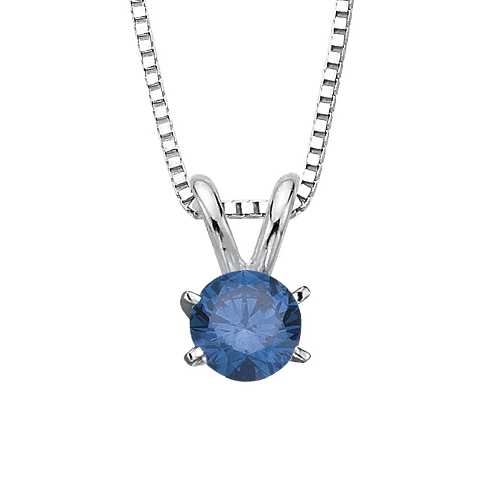 0.65 ct. Blue - SI2,I1 Round Brilliant Cut Diamond Solitaire  Pendant with Chain (White or Yellow Gold)
