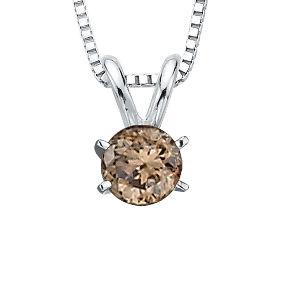 Brown - I1 Round Brilliant Cut Diamond Solitaire Pendant with Chain in 14K White Gold