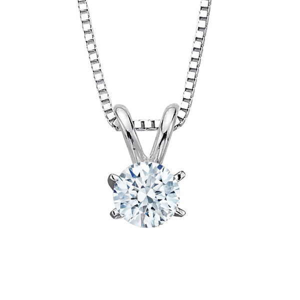 Round Brilliant Cut Diamond Solitaire Pendant with Chain in 14K White Gold