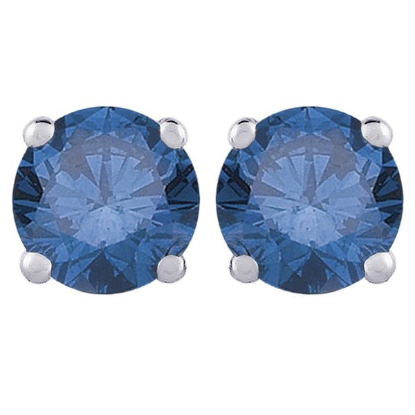 Blue - I1 Round Brilliant Cut Diamond Earring Studs in 14K White Gold (2 cttw)