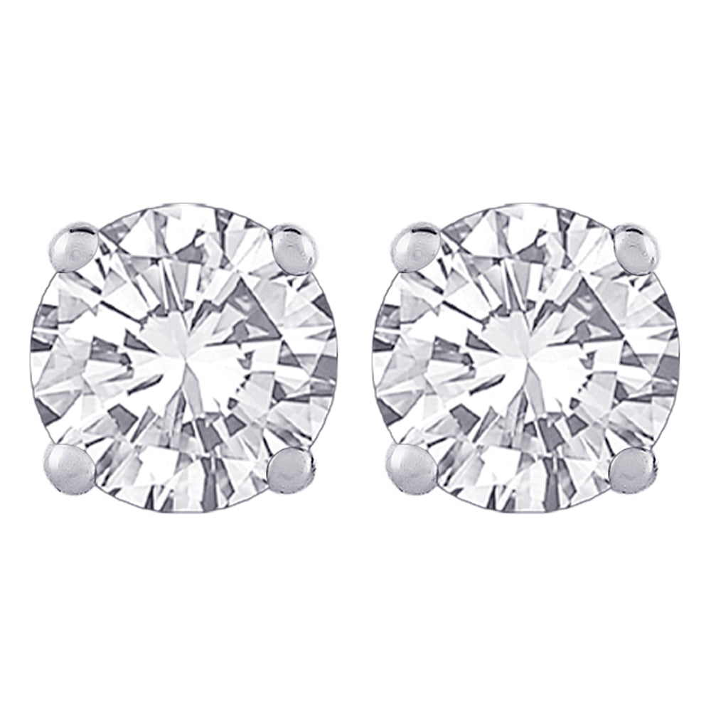 Round Brilliant Cut Diamond Earring Studs in 14K White Gold (JK - SI2 / I1)