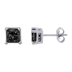 Black Princess Cut Diamond Earring Studs in 10K White Gold