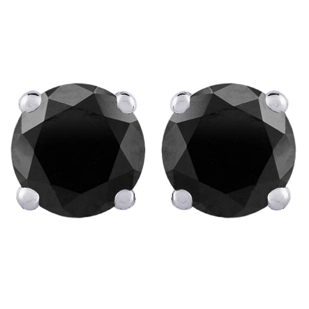 Black Round Brilliant Cut Diamond Earring Studs in 14K White Gold