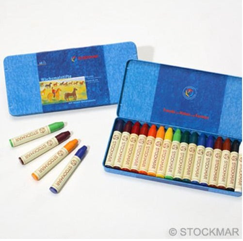 Stockmar Wax Stick Crayons - 16 assorted, Kinder Art, mercurius - LIESAS