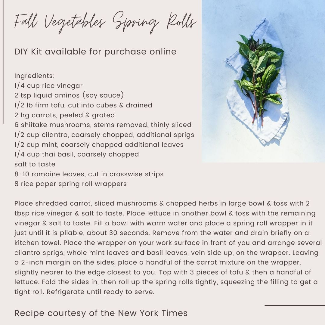 From Our Schools Kitchen to Yours - DIY Fall Vegetables Spring Rolls
