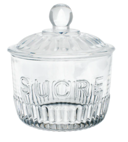 "Glass Sugar Jar ""SUCRE"""