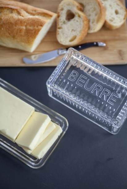 "Glass Butter Dish ""BEURRE"""
