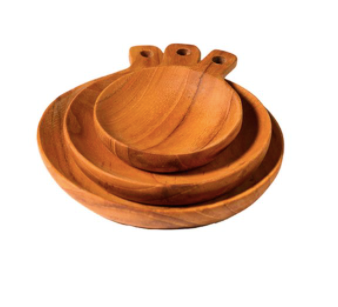 Teak Plates with Handles, Set of 3