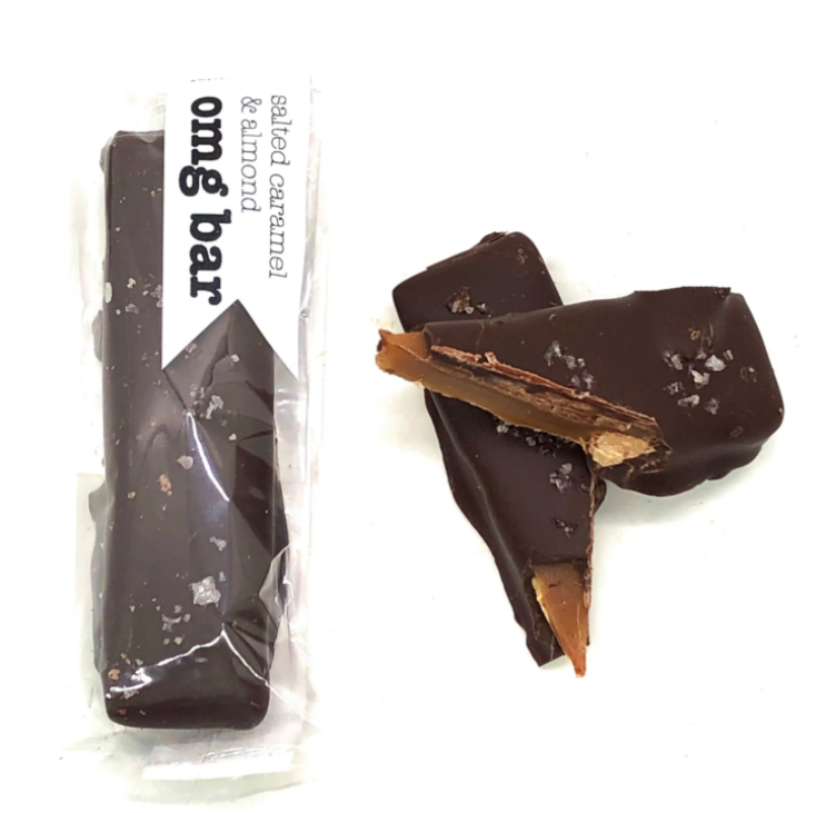 OMG Bar - Organic Fair Trade Dark Chocolate w/ Caramel & Almond