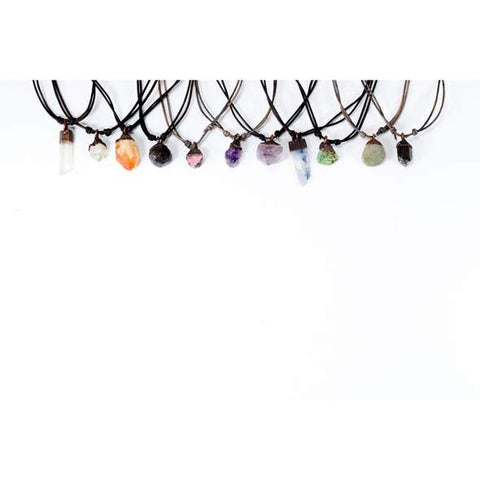 Raw Crystal Necklace Collection - Adjustable Leather, Necklace, Hawkhouse - LIESAS