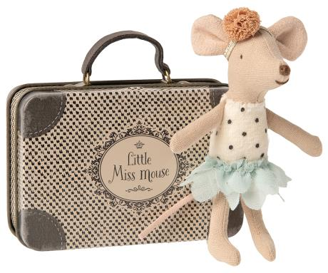 Maileg Little Miss Mouse in Suitcase, Toy, Maileg - LIESAS