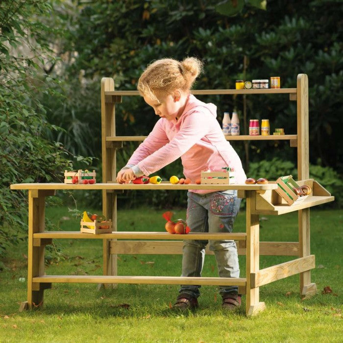German Farmer's Market Collection - Market Play Stands, Toy, Wooden Wagon - LIESAS