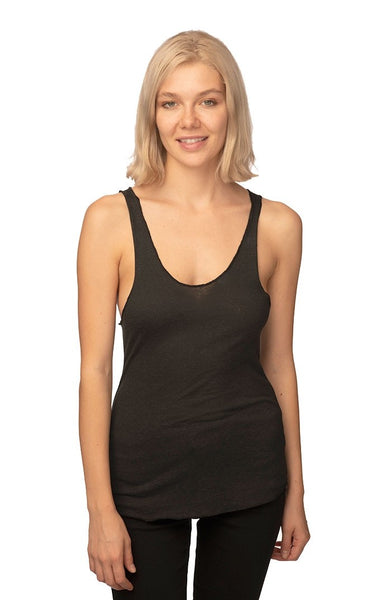 20008 Women's Triblend Raw Edge Tank Top-yourzmart