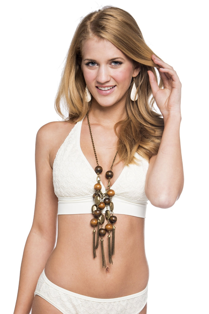 Crema Wrap Halter Top with Lace