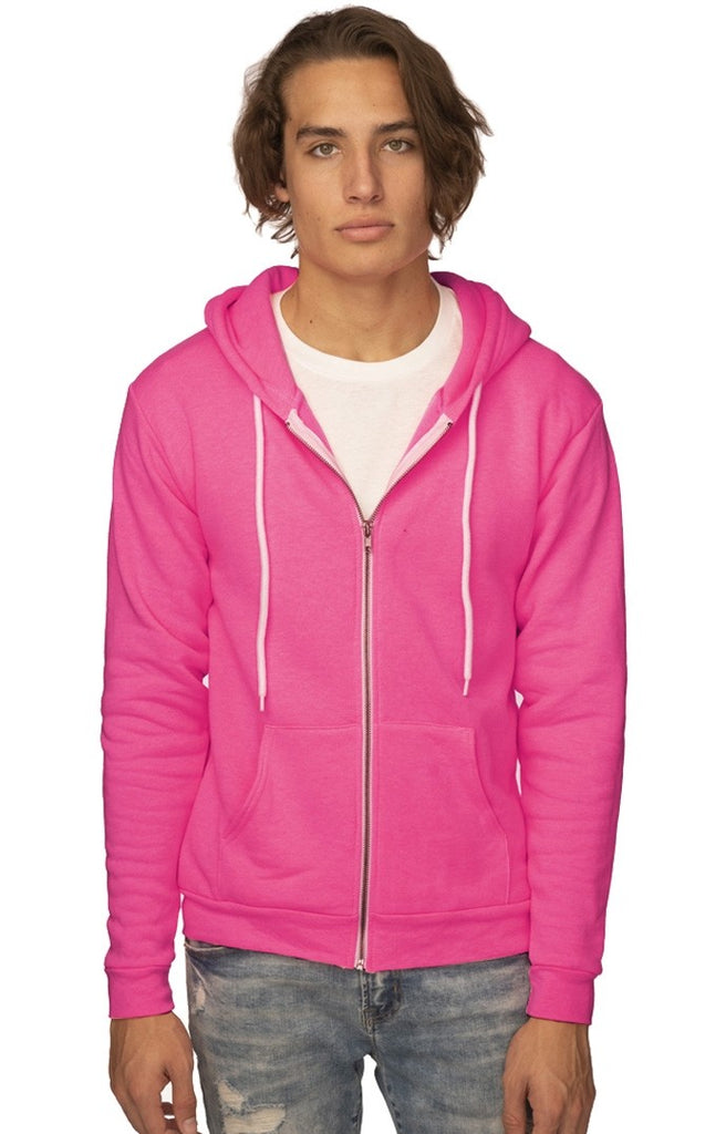 3150N Unisex Fashion Fleece Neon Zip Hoody-yourzmart