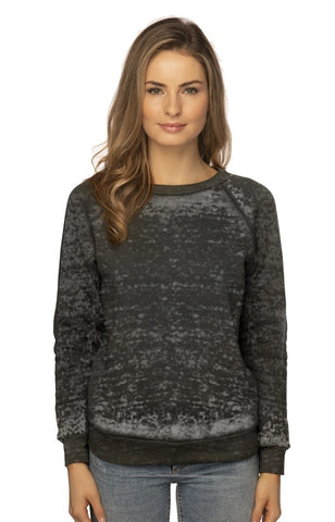 3199BO Women's Burnout Fleece Raglan Pullover-yourzmart