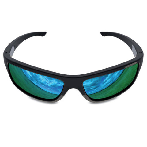 Charlie V – Black Sunglasses, Blue Reflective Lens – Made in USA-yourzmart