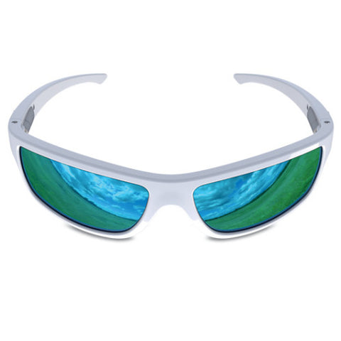 Charlie V – White Sunglasses, Blue Reflective Lens – Made in USA-yourzmart